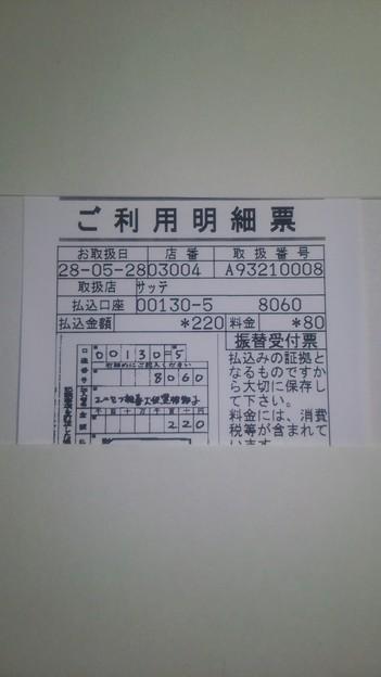 ユニセフ親善大使黒柳徹子さんの口座に送金した明細書(2016/05/28)