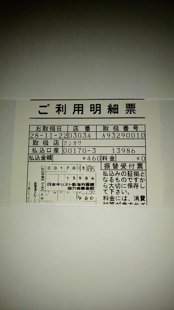 日本キリスト教海外医療協力会の保健医療協力募金に寄付した明細書