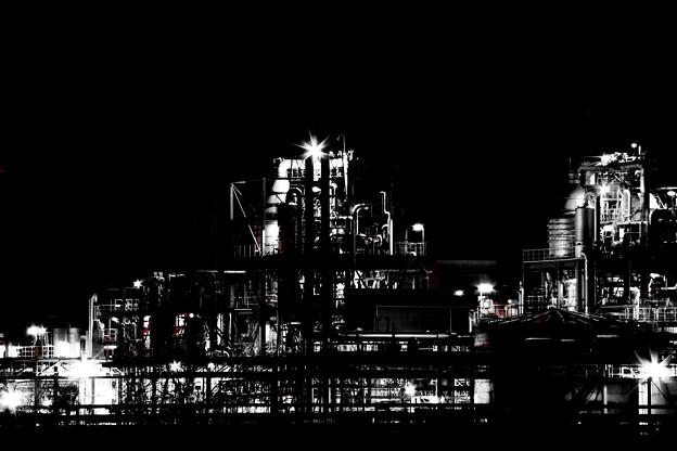 写真: 漆黒の闇に浮かぶ不夜城