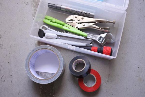 ミニバスにもある程度の工具を装備