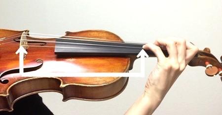 中野・江古田 バイオリン 個人レッスン ヴィオラ 吉瀬弥恵子 ワイズ音楽教室 ポジションで弓の位置が決まります