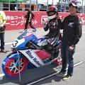写真: 2014 #43 足立眞衣 NSF250R Hondaブルーヘルメット 全日本ロードレース J-GP3 jrr 94